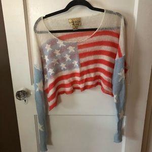 Wildfox American flag sweater